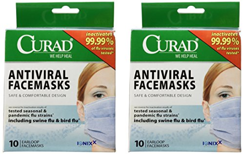 2 Pack of Curad® Antiviral Medical Face Mask, Pleated, 10/Box. Includes 2 Boxes/20 - Face Two Wiki
