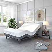 Classic Brands Adjustable Comfort  Upholstered Adjustable Bed Base with Massage, Wireless Remote, Three Leg Heights, and USB Ports-Ergonomic, King, Black