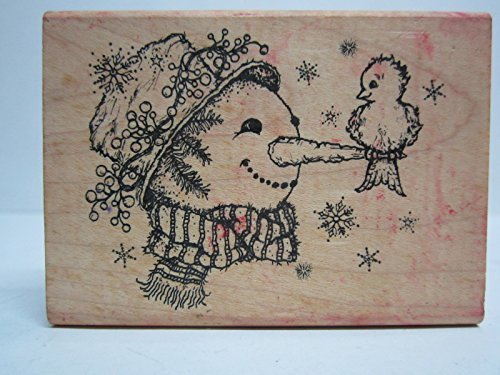 Snowman with bird stamp