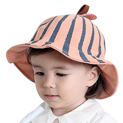 Reversible Stripe Beanie - WARMSHOP Lovely Baby Bucket Hat Boys Girls KidsStripeReversible Sun Protection Caps Chin Strap (Pink, 18 Months-4 Years Old)