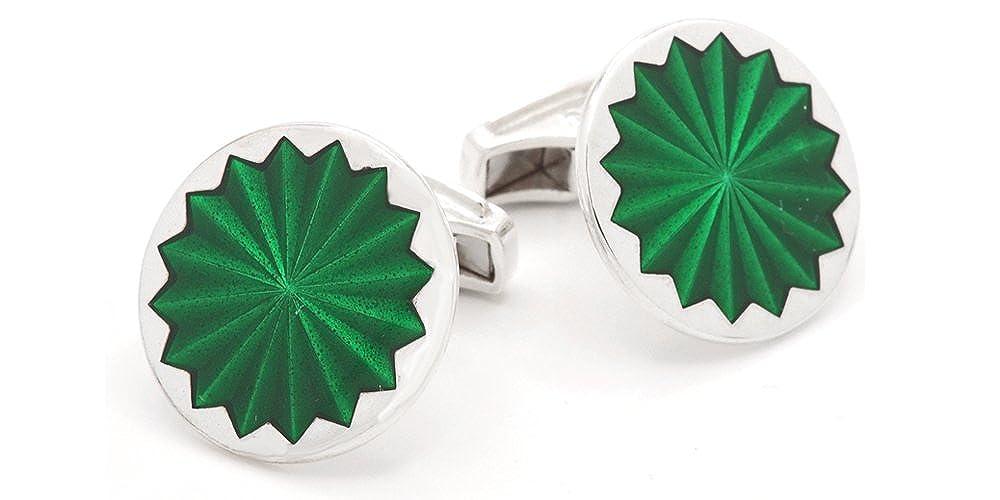 Made in England Sterling Silver Green Enamel Cufflinks