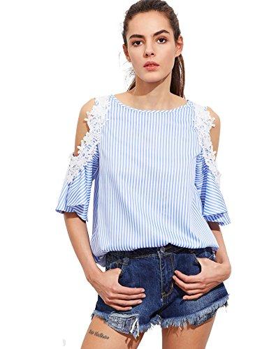Top Applique (Romwe Women's Tee Shirt Lace Applique Open Shoulder Keyhole Back Striped Blouse Top Blue)