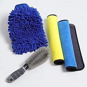 Rmine 4 Pièces Kit de Nettoyage de Voiture Nettoyage Kit Outils de Lavage de Voiture avec 1 Gant de Lavage 1 Brosse à…