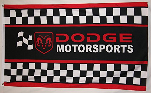 Dodge Motorsports Checkered Racing Flag 3' X 5' Auto Banner