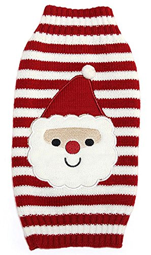 - MaruPet New Year Ribbed Halloween Two-leg Sweater Knitwear Turtleneck Striped Santa Claus Christmas Cotton Vest Top for Teddy, Chihuahua, Shih Tzu, Yorkshire Terriers, Golden Retriever Red M