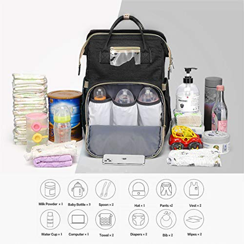 FITCHCE 3 in 1 Diaper Bag Backpack,Large Capacity Waterproof Travel Nappy Bag,Multifunctional Foldable Baby Crib Changing Table.(Black)