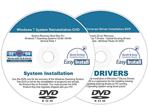 Compatible Windows 7 (SP1) 32 & 64 bit Reinstall Install DVD Disc Home Basic Premium Professional Ultimate - 2019 Driver DVD Included - 2 Disc Installation Kit