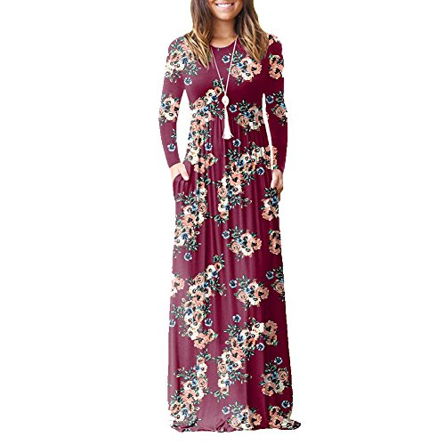 Idingding Long Maxi Dress, Women's Floor-Length Dress Ladies Evening Party Long Sleeve Floral Printed Dresses, Floral Wine Red, XL