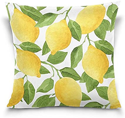 ALAZA Throw Pillow Case Decorative Cushion Cover Square Pillowcase, Watercolor Lemon Tree Sofa Bed Pillow Case Cover(20x20inch) Twin Sides