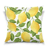 ALAZA Throw Pillow Case Decorative Cushion Cover Square Pillowcase, Watercolor Lemon Tree Sofa Bed Pillow Case Cover(18x18inch) Twin Sides