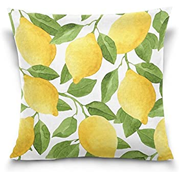 ALAZA Throw Pillow Case Decorative Cushion Cover Square Pillowcase, Watercolor Lemon Tree Sofa Bed Pillow Case Cover(16x16inch) Twin Sides