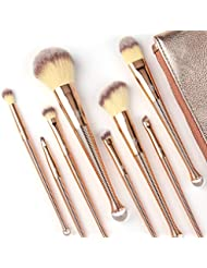 Makeup Brushes Set 8Pcs High End Premium Synthetic Cosmetics Contouring Powder Contour Foundation Eyebrow Eyeshadow Kabuki ZOREYA Mermaid Professional Makeup Brush Set Kit With Leather Carrying Bag