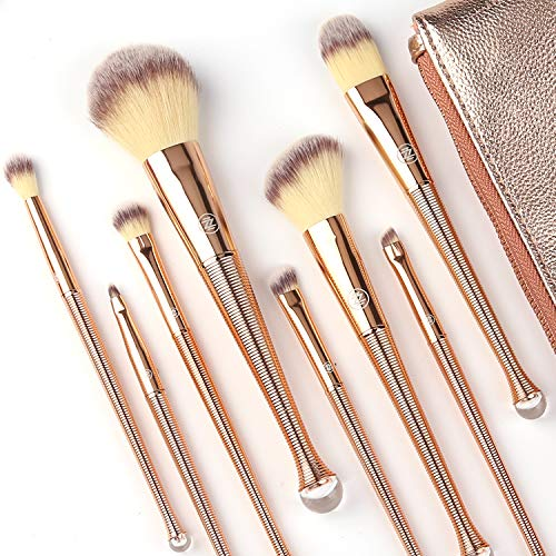 Makeup Brushes Set 8Pcs High End Premium Synthetic Cosmetics Contouring Powder Contour Foundation Eyebrow Eyeshadow Kabuki ZOREYA Mermaid Professional Makeup Brush Set Kit With Leather Carrying Bag