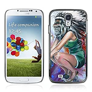 Colorful Printed Hard Protective Back Case Cover Shell Skin for Samsung Galaxy S4 IV (I9500 / I9505 / I9505G) / SGH-i337 ( POP Art Native Gorilla Painting )