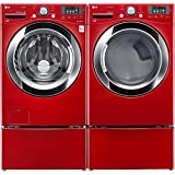 """LG Red Front Load Laundry Pair with WM3370HRA 27"""" Washer, DLGX3371R 27"""" Gas Dryer and 2 WDP4R Pedestals"""