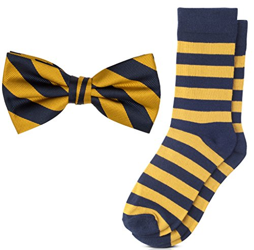 Jacob Alexander Matching College Stripe Dress Socks and Bow Tie - Gold Navy