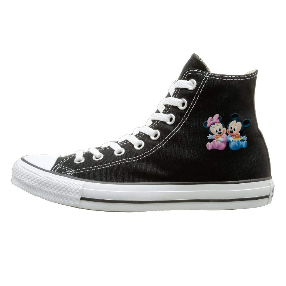 Buecoutes Cartoon Image Canvas Shoes High Top Design Black Sneakers Unisex Style