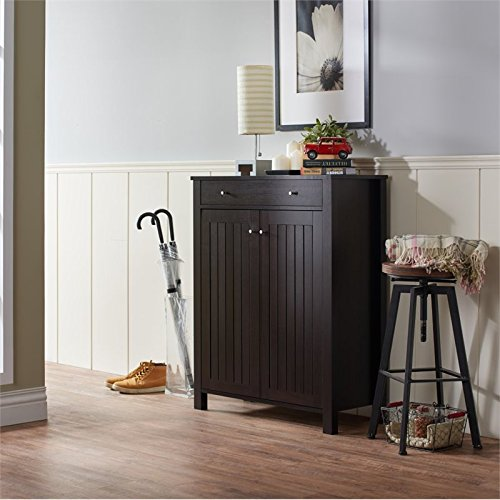 Furniture of America Jessa Slatted Shoe Cabinet in Cappuccino by Furniture of America