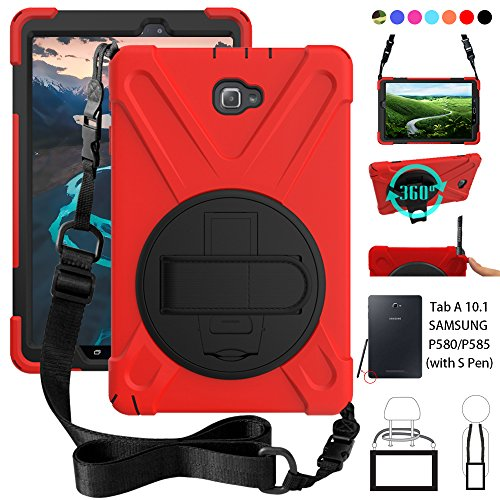 ZenRich P580 Case, Galaxy Tab A 10.1 (with S Pen) Case, Shockproof High Impact Resistant Heavy Duty Case with Hands Strap Shoulder Belt for Samsung Galaxy Tab A 10.1 P580 P585 (S Pen Version),Red