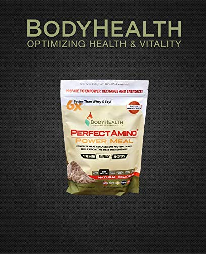 BodyHealth PerfectAmino Complete Meal Replacement 100% Organic, Protein Powder Drink with Oil, Nutrition, Weight Health,