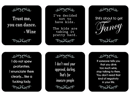 Lavley Funny Novelty Drink Coasters - Gift Set of 6 - Black