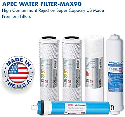 Apec Filter Max90 Us Made 90 Gpd Complete Replacement Filter Set For Ultimate Series Reverse Osmosis Water Filter System For Standard 1 4 Output System Amazon Sg Home Improvement