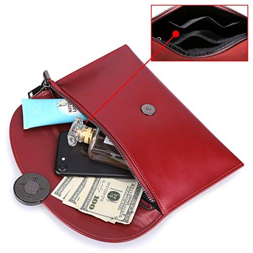 S Donna ZONE Borsa Mano Pelle in Tracolla a a Tracolla Borsa a Borsa Tracolla a Rosso Borsa qqRwrAF