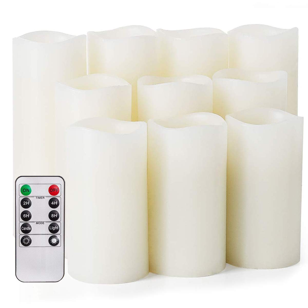 Flameless Candles,Salipt LED Flickering Candles Set of 10 (H 4'' 5'' 6'' xD 2.2'') Ivory Real Wax Battery Operated Candles with Remote Timer (Batteries not Included) by Salipt