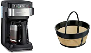 Hamilton Beach Works with Alexa Smart Coffee Maker, Programmable, 12 Cup Capacity, Black and Stainless Steel (49350) & Hamilton Beach Permanent Gold Tone Filter, (80675R/80675)