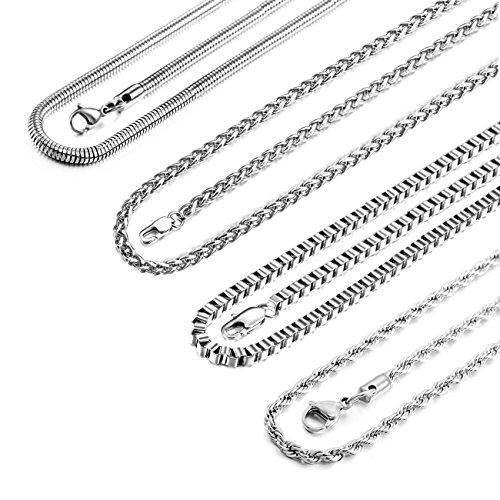 MOWOM 4.0mm Wide 4PCS Silver Tone Stainless Steel Necklace Snake Twisted Box Curb Chain Link 18 ()