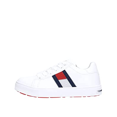 2d1218c74df Amazon.com | Tommy Hilfiger T3B4-30320-0625 White Eco Leather Youth ...