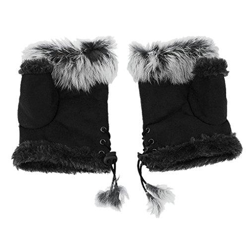 Women Winter Warm Fingerless Gloves Ladies Fashion Rabbit Fur Half Finger Mittens Girls Teen Elegant Arm Hand Warmers Stretchy Hand Wear Mittens Xmas Gift Outdoor Haling Hands Gloves