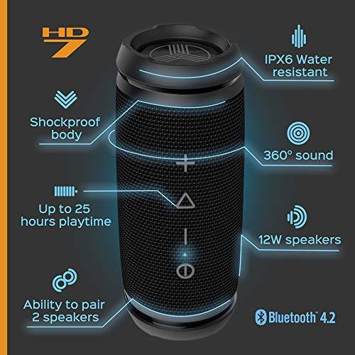 TREBLAB HD7 - Mini Portable Bluetooth Speaker Wireless - 12W Stereo, 360°HD Sound w/Bass, TWS Dual Pairing, w/Mic… 4