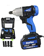 Cordless Impact Wrench 1/2 Inch Driver kit with 6000mAH Li-ion Battery 420Nm Max Torque Variable Speed Control with 4 Sockets Fast Charger and Carry Case, 5 Year Warranty