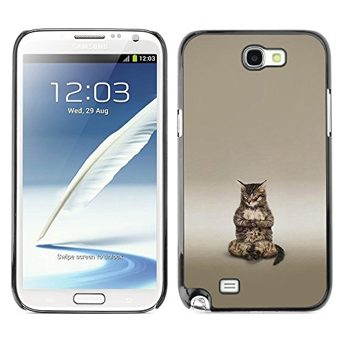 Soft Silicone Rubber Case Hard Cover Protective Accessory Compatible with SAMSUNG GALAXY NOTE 2 & N7100 - Cute Buddha Cat Meditating