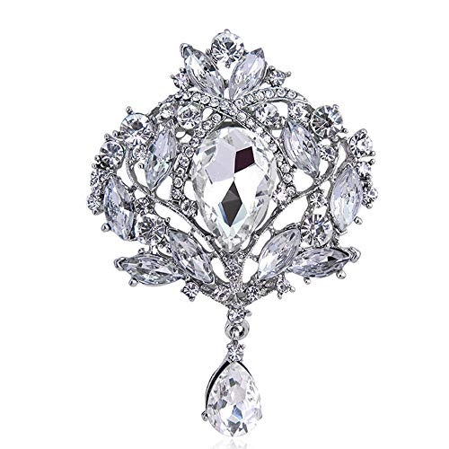 Ezing Large Silver-Tone Flower Ribbon Teardrop Multicolor Crystal Pendant Brooch (G)