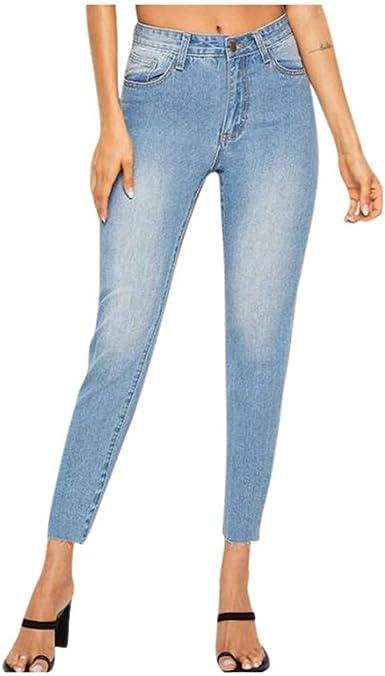 Zezkt Vaqueros De Cintura Alta Delgada Para Mujer Moda Salvaje Pantalones De Mezclilla Color Claro Casual Denim Pantalon Rotos Tejanos Otono E Invierno Nuevo Jeans Slim Vaqueros Amazon Es Ropa Y Accesorios