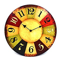 """HIPPIH 12"""" Vintage Rustic Country Tuscan Style Wooden Decorative Round Wall Clock"""
