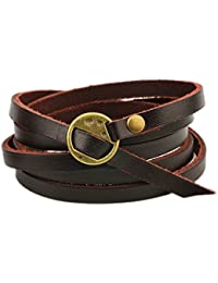 Multilayer Design Dark Brown Leather Cuff Bangle Thin Leather Rope Wristband Bracelet