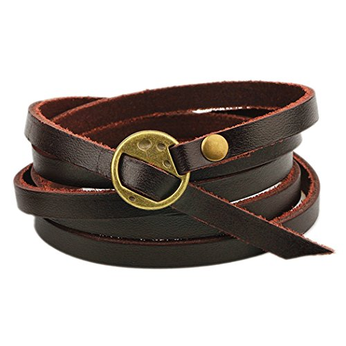 MORE FUN Multilayer Design Dark Brown Leather Cuff Bangle Thin Leather Rope Wristband Bracelet (gold)