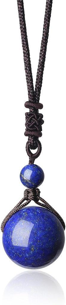 Colección Unisex regulable con pendiente con bola en piedras naturales, Ciondolo Mala Equilibrio Reiki