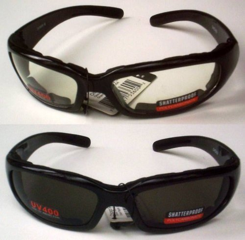 UPC 015958977694, 2 Motorcycle Glasses Sunglasses Smoked Clear Lens Has Padding to Protect Against Wind Shatterproof Polycarbonate Lenses Also Great for ATV Quad Jogging Paintball Sports Outdoors New