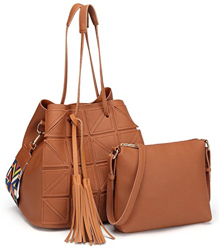 Fashion Tote Soft Leather Handbag and Purse Sets 2 Piece in 1 for Women Ladies Crossbody Shoulder Bags