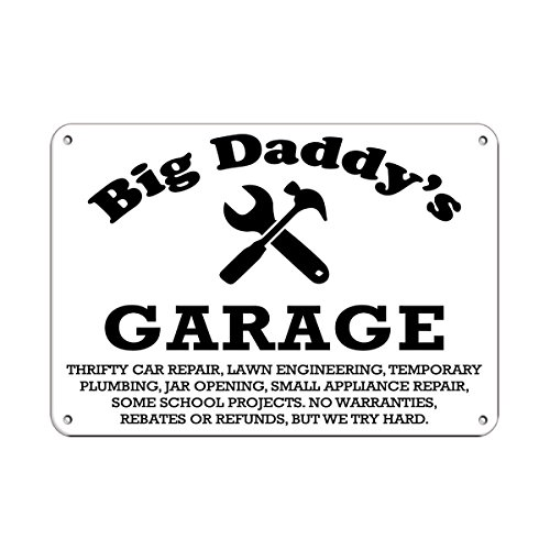Big Daddy's Garage Thrifty Car Repair Parking Sign LABEL DECAL STICKER Sticks to Any Surface 10x7 - Thrifty Car