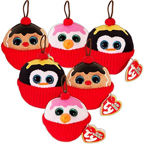 Cupcake Party Favors Ty Set -- 6 Ty Plush Beanie Cupcakes (Party Supplies, Decorations) ()