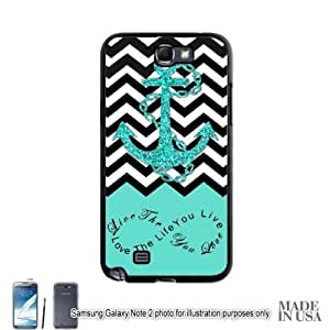 Anchor Live the Life You Love Infinity Quote (Not Actual Glitter) - Mint Black White Chevron with Anchor Samsung Galaxy Note II 2 N7100 Hard Case - BLACK by Unique Design Gifts