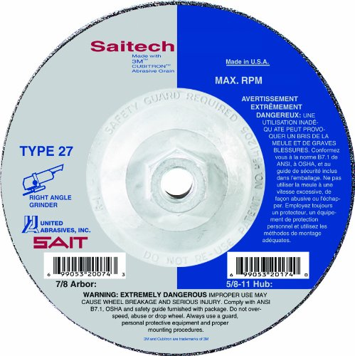 United Abrasives-SAIT 22269 Type 27 4-1/2-Inch by 1/8-Inch by 5/8-11-Inch Specialty Pipeline Cutting/Grinding Wheels, 10-Pack