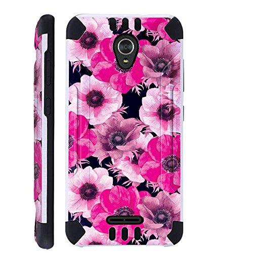 For Alcatel idealXCITE / Alcatel Raven / Alcatel CameoX / Alcatel Verso / Alcatel Fiji Case Brushed Metal Texture Hybrid TPU KombatGuard Phone Cover (White Pink Flower)