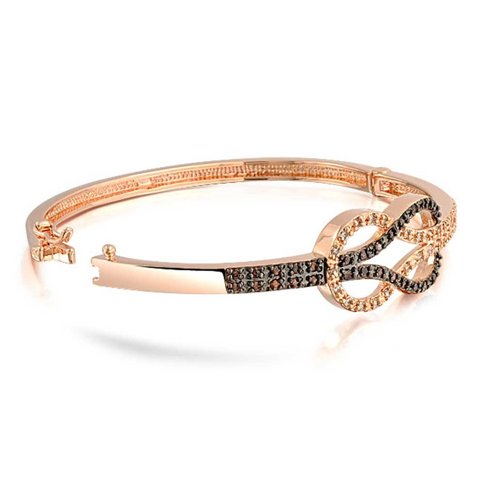 Two Tone Infinity Symbol CZ Bangle Bracelet for Women for Girlfriend Black White Cubic Zirconia Rose Gold Plated Brass