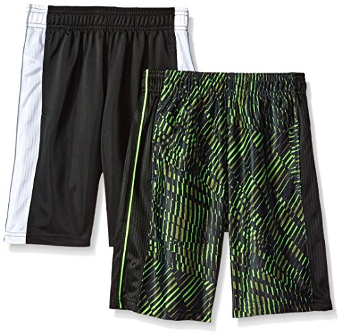- Hanes Boys' Big Sport 10 Inch Performance Dazzle Pocket Short (Pack of 2), Black/White/Edge Geo S